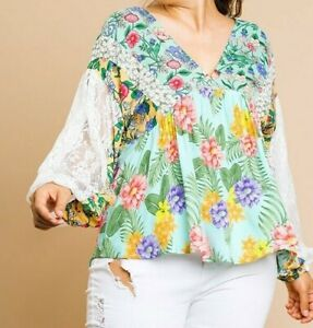 New Bluheaven By Umgee Top 1X Floral Lace Puff Sleeve Boho Peasant Plus Size