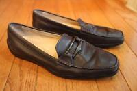 TOD'S women Leather brown flats shoe loafer size 36 (shoe1000