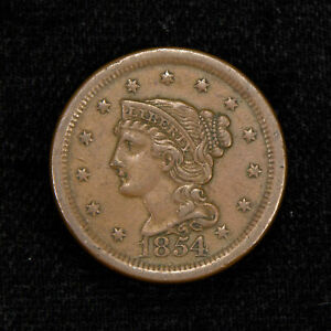 1854 1c BRAIDED HAIR LARGE CENT, AU COIN LOT#Y510