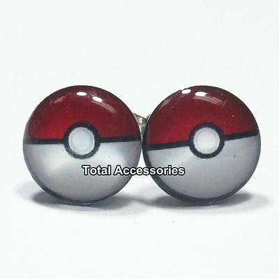 Capture Poke Ball  Stainless Steel Stud Earrings - Mens Womens - New