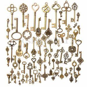 Set-of-70-Antique-Vintage-Old-Look-Bronze-Skeleton-Keys-Fancy-Heart-Bow-Pendant