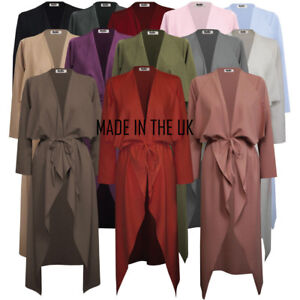 Womens-Ladies-Maxi-Long-Sleeve-Waterfall-Belted-Duster-Jacket-Coat-S-M-XXL