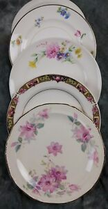 4-MISMATCHED-FINE-OLD-VINTAGE-CHINA-CAKE-DESSERT-BREAD-PLATES-WEDDING-CPO4o