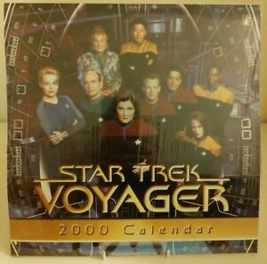 Star-Trek-Voyager-2000-Wall-Calendar-Sealed-Collectable-Starfeet-Sci-Fi