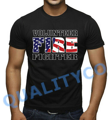 VOLUNTEER FIREFIGHTER Black T Shirt USA Fire Fighter EMS Workout Gym Tee