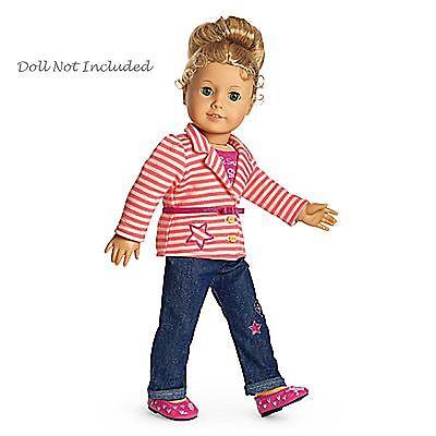 American Girl My Ag Hell Streifen Outfit Für 45.7cm Puppen Jacke Jeans Neuer