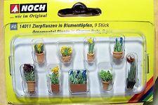 HO Noch 14011 PRE-BUILT Ornamental Plants in Flower Pots #1 ( NINE Pots in Pack)