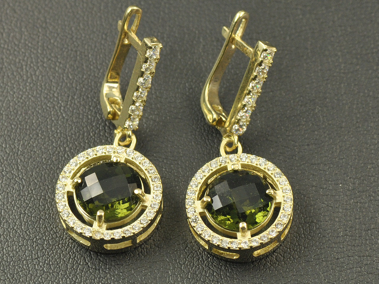 Moldavite earrings pair gold 14K 9mm faceted round  AUVL008