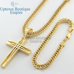 2016 men stainless steel new gold cross pendant necklace chain set image is loading 2016 men stainless steel new gold cross pendant aloadofball Images
