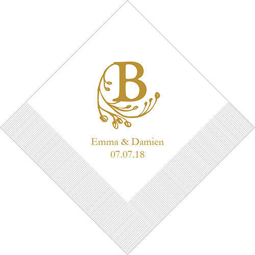 100 Modern Fairy Tale Initial Personalized Wedding Luncheon Napkins