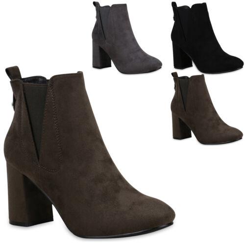 Damen Stiefeletten Chelsea Boots Zierperlen Wildleder-Schuhe 823837 Trendy Neu