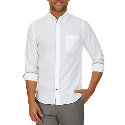 NEW Nautica Long Sleeve Solid Eoe Shirt White