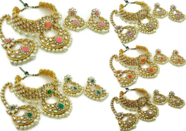 WHITE LCT CZ GOLD TONE SEMI BRIDAL NECKLACE SET 4PC BOLLYWOOD INDIAN JEWELRY