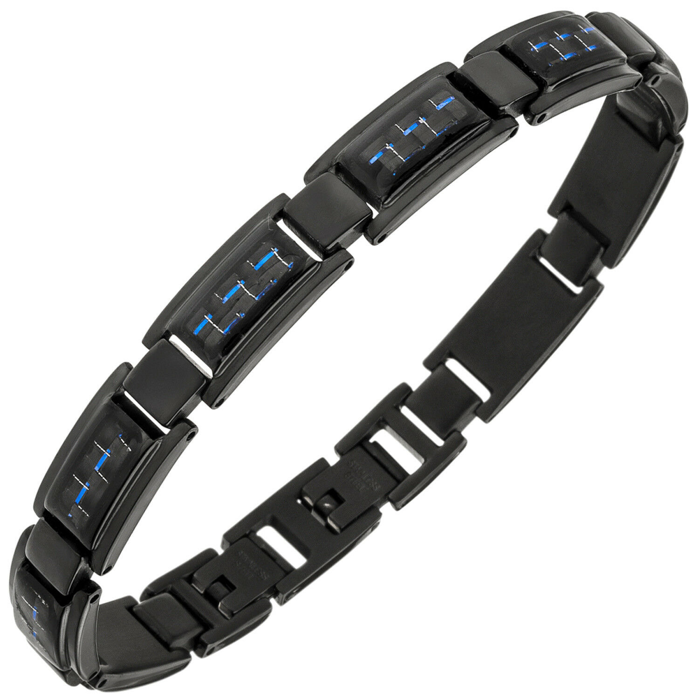 Bracciale in in in acciaio inox nero rivestito con carbonio blu 21 cm armschmuck 3dc48b
