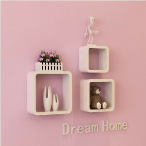 Wall Shelves Cube Shelf Wooden Book Storage Diy Home Decor Ledge Organizer 3pcs Ebay