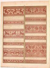 Stampa antica DECORAZIONI TESSUTI STOFFE Tav 123 animali 1883 Old antique print