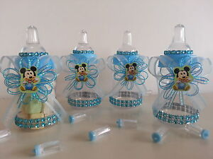 12 baby mickey mouse fillable bottles baby shower favors prizes