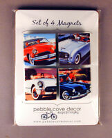 Refrigerator Magnets Vintage Auto Old Cars Set Of 4 Made In Usa Free U.s. Ship