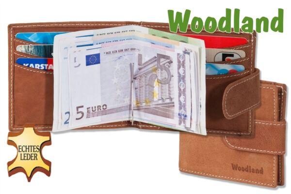 """+ """"woodland"""" Portafoglio Piatta Con Denaro Spange Da Viste Con Un Bufalo In Pelle In Cognac"""