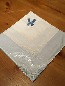 1950s-Vintage-Handkerchiefs-M-monogrammed-embroidered-floral-Wedding-Bridal