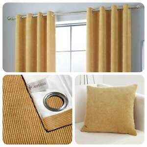 Curtina-KILBRIDE-CORD-Ochre-Chenille-Eyelet-Curtains-amp-Cushions