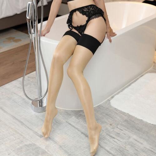 Damen Halterlose Strümpfe Retro Glänzend mit Strumpfhose Brautstrümpfe Stockings