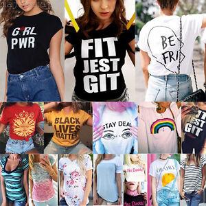 2017-Women-Casual-Short-Sleeve-Shirt-Loose-Summer-Cotton-T-shirt-Tops-Blouse-NEW
