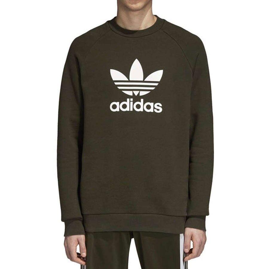 Adidas Herren Sweatshirt Trefoil Crew DM7834 Grün Militär Modell DM7834