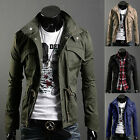Fashion Mens Zip Button Hooded Military Slim Fit Collar Jacket Long Coat Outwear