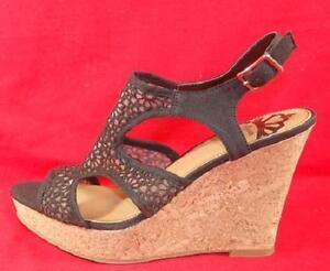 0f9fbe4914a Women s FERGIE KAMMI Black Casual Wedge Peep Toe Sandals Dress Shoes ...