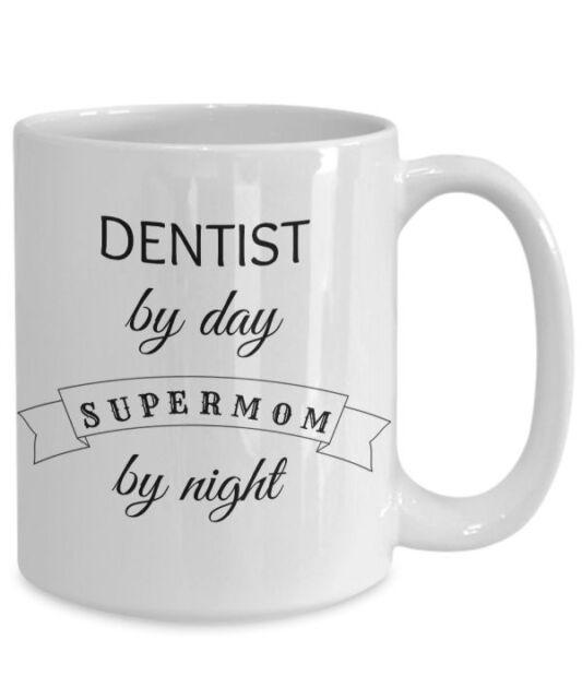 Dentist Supermom Mug, Fun Novelty 15oz White Ceramic Orthodontist Coffee Tea Cup