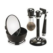 Negro Cuatro Pieza Set De Afeitado Con Espejo Bol Maquinilla Y Cepillo (FM16BLK)