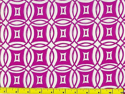 Grape Purple Circles & Diamonds on White Quilting Fabric by Yard  #788b
