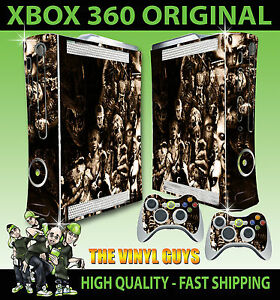 XBOX-360-OLD-SHAPE-HORROR-COLLAGE-SEPIA-VILLAINS-EVIL-STICKER-SKIN-amp-2-PAD-SKIN