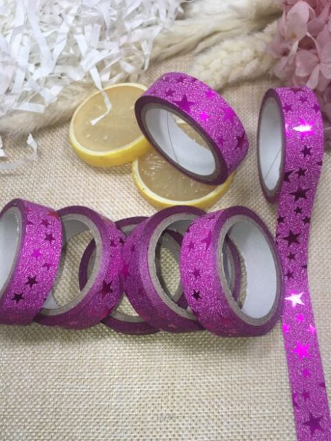 15mm X 5M Creative DIY Self Adhesive Glitter Washi Paper Tape Masking Decor 11WB