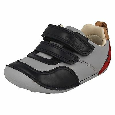 Boys Clarks Tiny Cap Leather First Shoe Riptape Strap PreWalkers