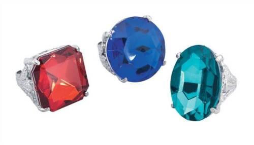 LARGE COSTUME JEWELLERY FANCY DRESS FAKE DIAMOND RING JUMBO VARIOUS COLOURS