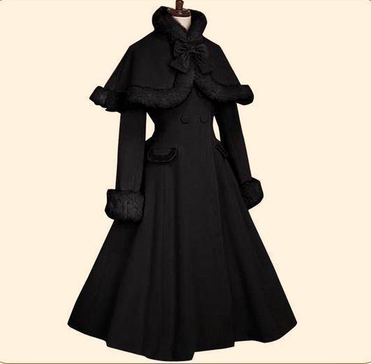 New Lolita Winter Cosplay Coat Womens Cloak Cape Jakcet Goth Punk Long Coats Hot