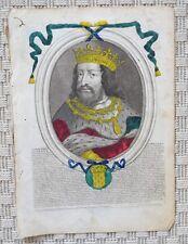 Gravure aquarellée Originale XVIIème par Nicolas Ier de Larmessin - Clovis
