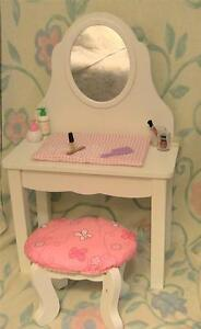 Prime Wooden Vanity With Mirror And Padded Stool For 18 Inch Dolls Evergreenethics Interior Chair Design Evergreenethicsorg