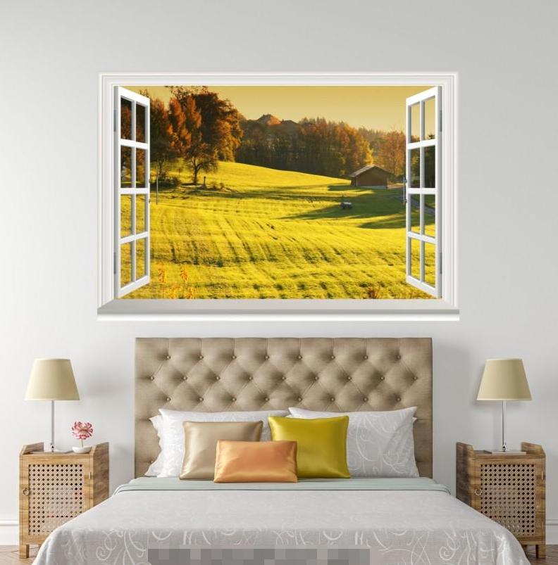 3D Field Sunlight 224 Open Windows WallPaper Wandbilder Wall Print AJ Jenny