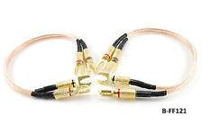 1ft Professional Grade 12awg Bi-wire Spade Plug Speaker Jumper Cable Set