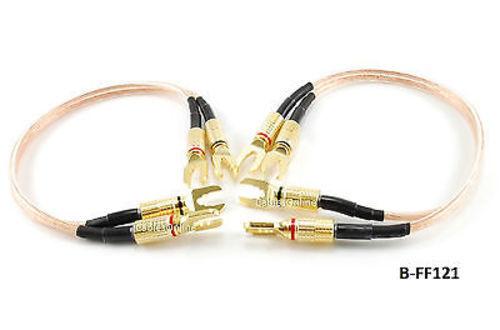 1ft Professional Grade 12awg Bi-wire Spade Plug Speaker Jumper Cable ...