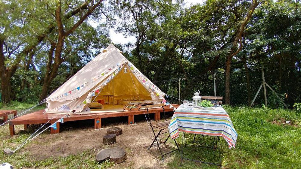 5M Outdoor Canvas Bell Tent Glamping Camping Zelte Familien Jagd Zelt Yurt Tipi