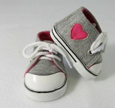 """HEART SNEAKERS TENNIS GRAY PINK SHOES FITS 18"""" American Girl DOLL CLOTHES"""