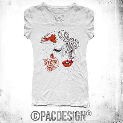 T-SHIRT DONNA WOMAN SEXY CHIC VINTAGE FASHION WHY SO HAPPINESS SZ0051A