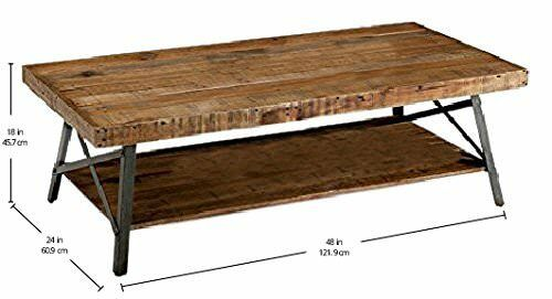 Rustic Solid Wood Steel Coffee Table Open Shelf Hardwood Distressed
