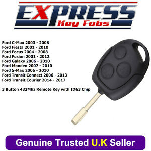 Coche-Remoto-Clave-Fob-Chip-433Mhz-ID63-para-Ford-Fiesta-Focus-C-Max-Transit-Conectar