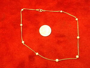 #3 of 3, PRETTY VTG LADIES/GIRLS 15 LONG YELLOW GOLD FILLED PEARL NECKLACE, VGC