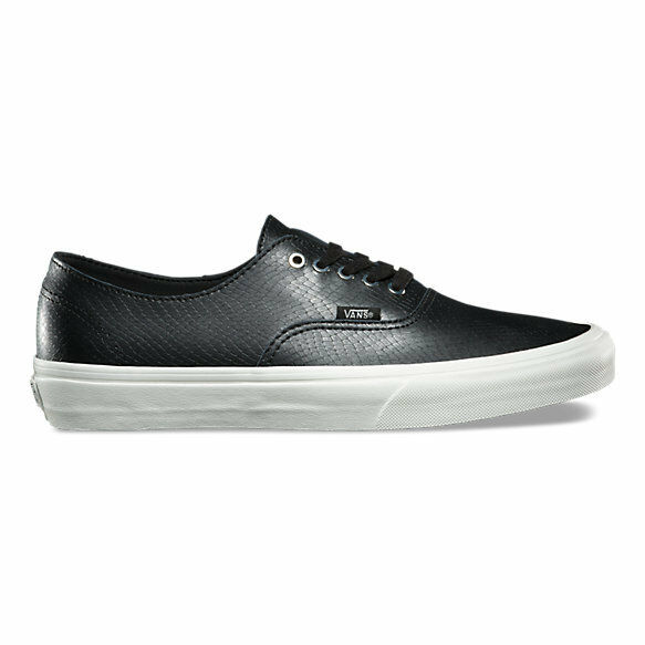 65d294c7d9 VANS Authentic Decon Mens Snake Leather Black Blanc Skate Boat Shoes Size  11.5 for sale online